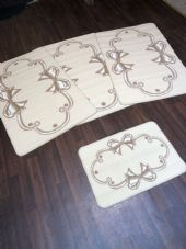 ROMANY GYPSY WASHABLES  SET OF 4 MATS/RUGS CREAM/BEIGES NON SLIP BOWS DESIGN